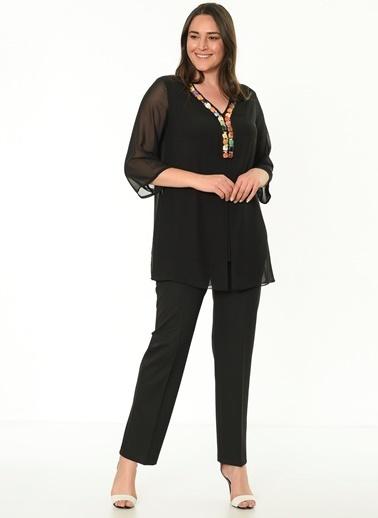 Selen V Yaka Bluz Siyah